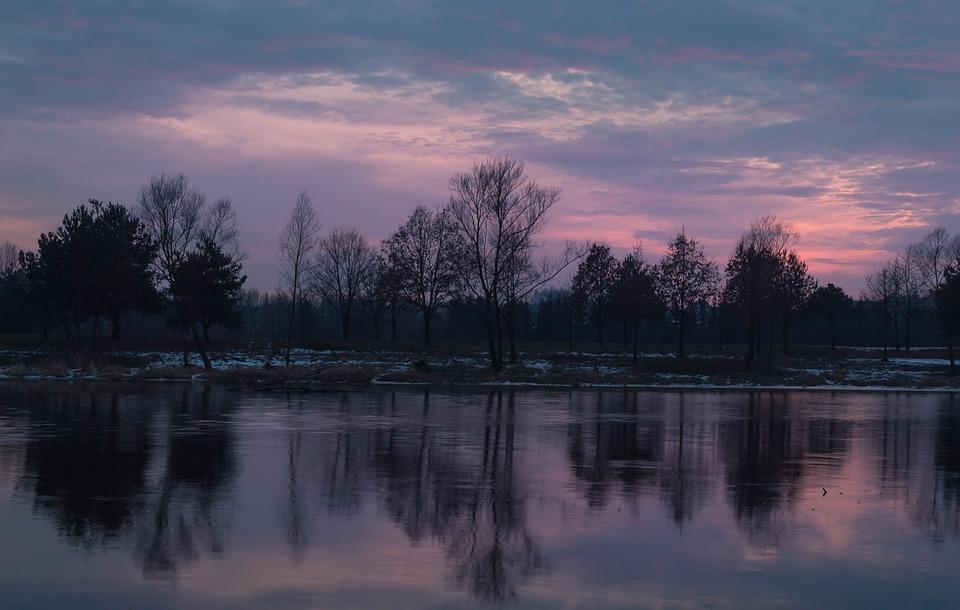 Sunset, Lake, Evening, Twilight, Sky, Nostalgia