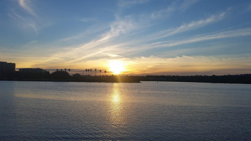 Sunset, Sky, River