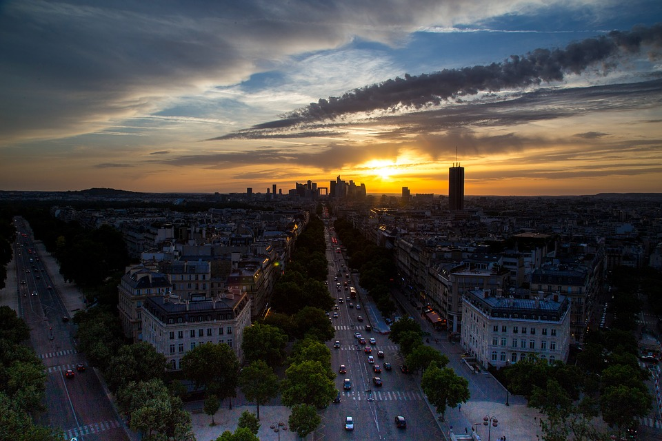 Paris, Evening, Sunset, Sunset Sky, Silhouette, Road