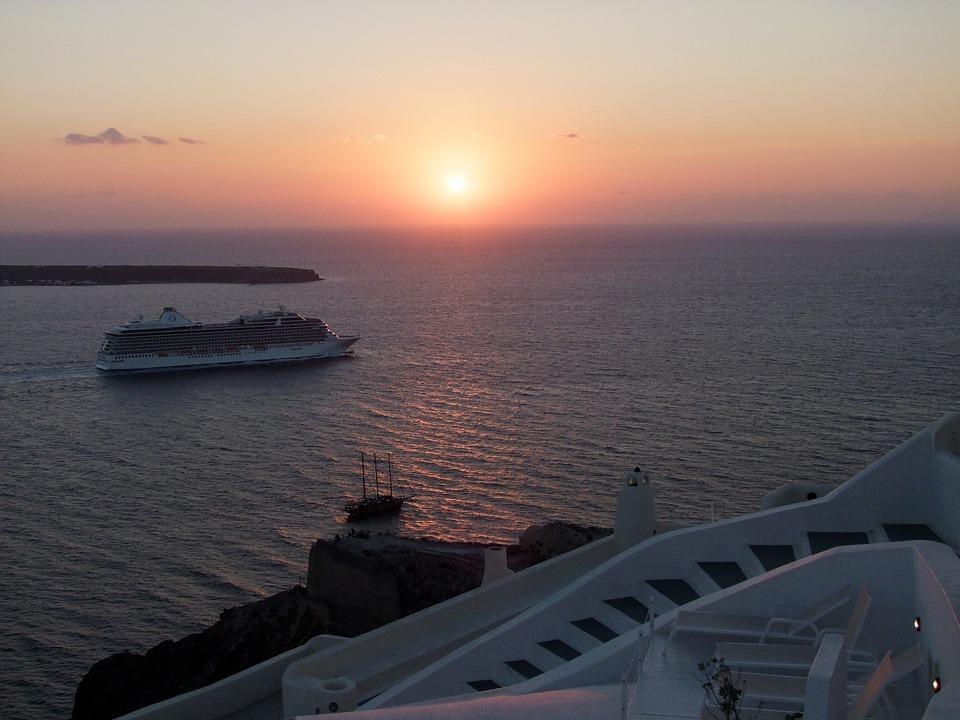 Sunset, Sea, Sky, Boats, Ships, Cruise Ship