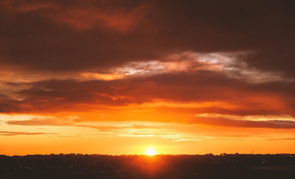 Sun, Sunset, Sunrise, Morgenrot, Afterglow, Sky, Clouds