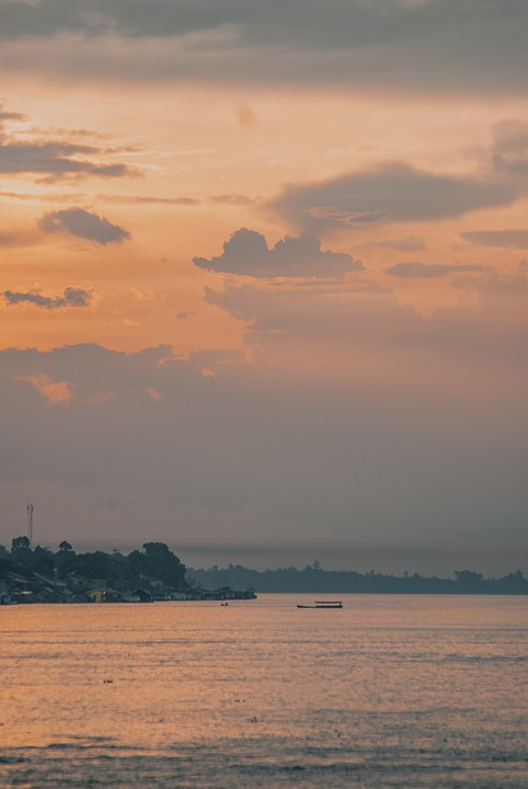 Sunset, Asia, Indonesia, River, Sky, Dusk, Boat, Water