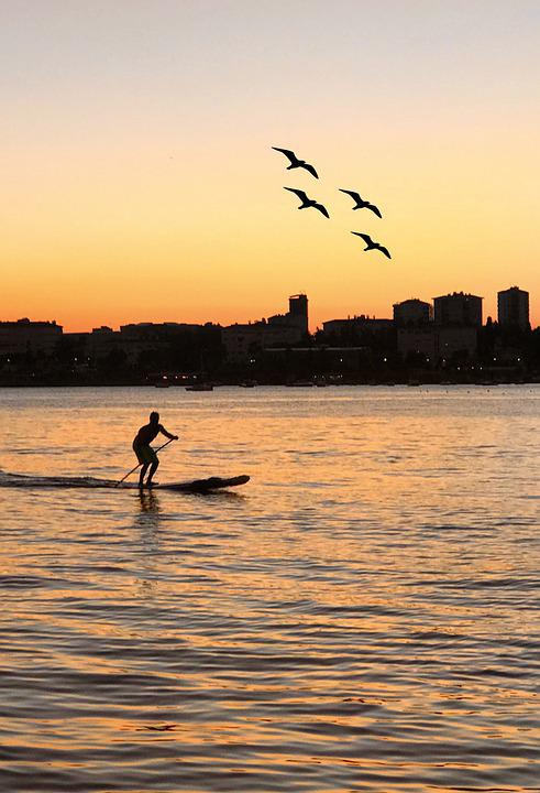 Sunset, Silhouette, Standup Paddleboarding