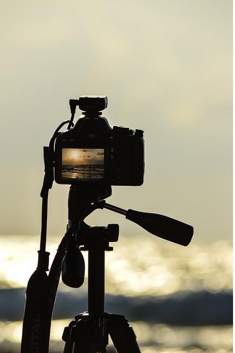 Camera, Sea, Canon, Beach, Water, Black, Sunset, Sun