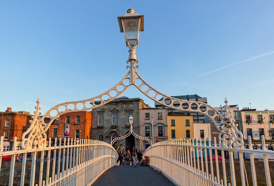 Dublin, Bridge, Ireland, City, River, Sky, Sunset, Sun