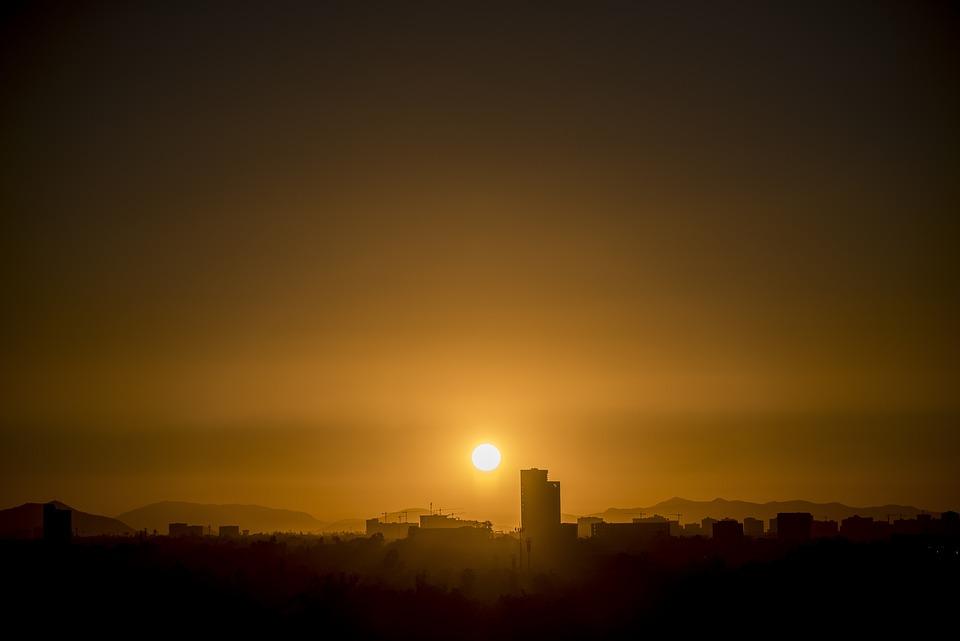 Sunset, Horizon, Sun, Distance, Landscape, Mountains