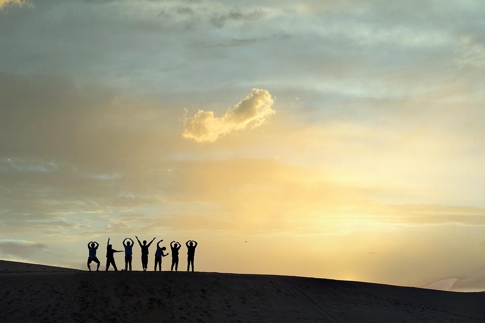People, Fun, Friends, Sunset, Desert, Sun, Nature, Sky