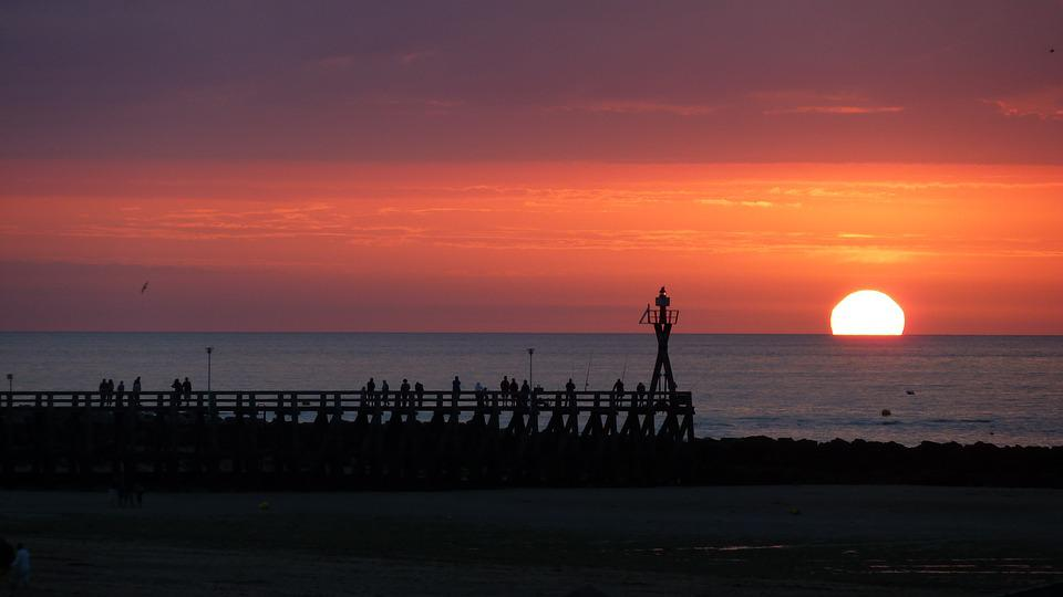 Sunset, Pier, Sea, Sun