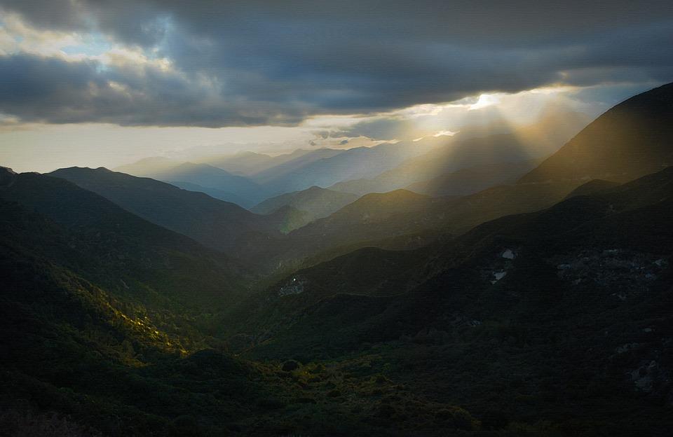 Sunset, Mountains, Clouds, Sun Rays, Cow Canyon Saddle