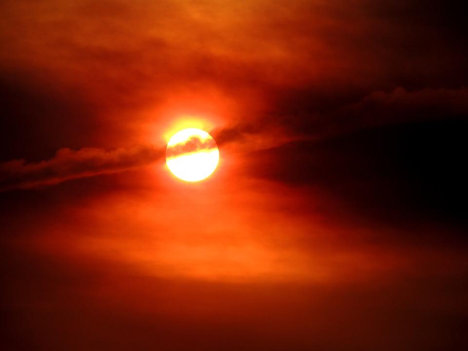 Sun, Sunset, Sky, Dusk, Red Sky, Sunlight, Atmosphere