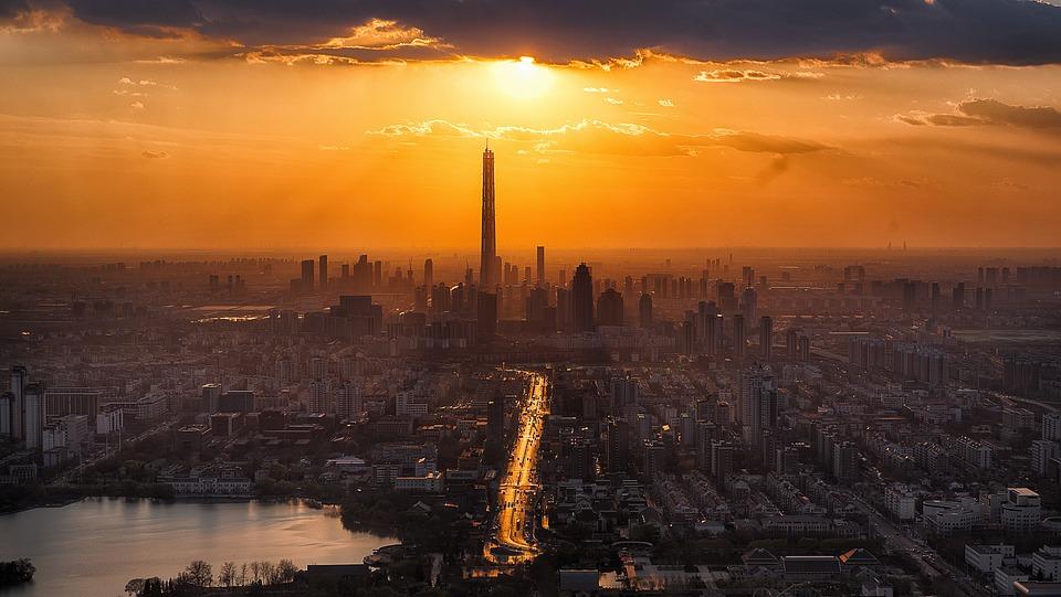 Tianjin, Twilight, City, Scenery, Sunset, Tower, Sun