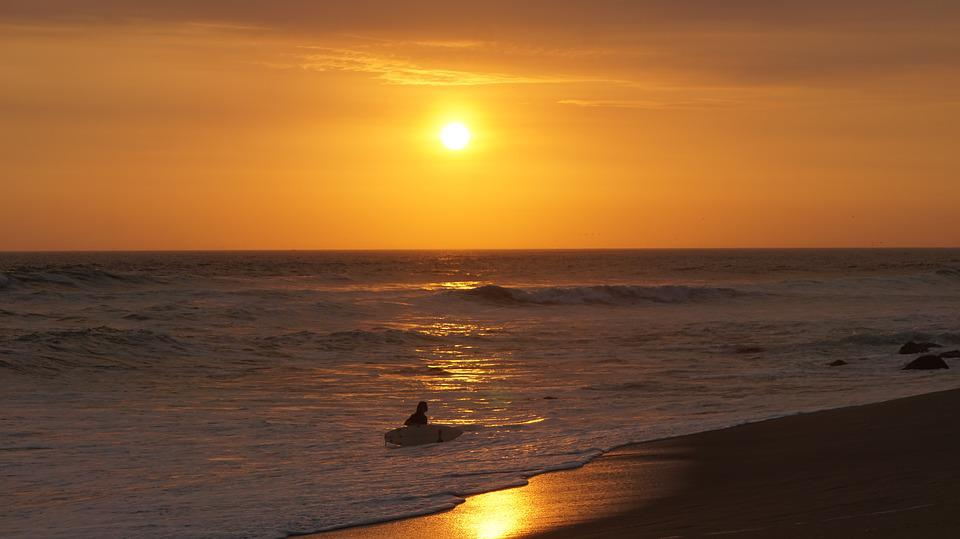 Sunset, Sun, Ocean, Setting Sun, Beach, Surf