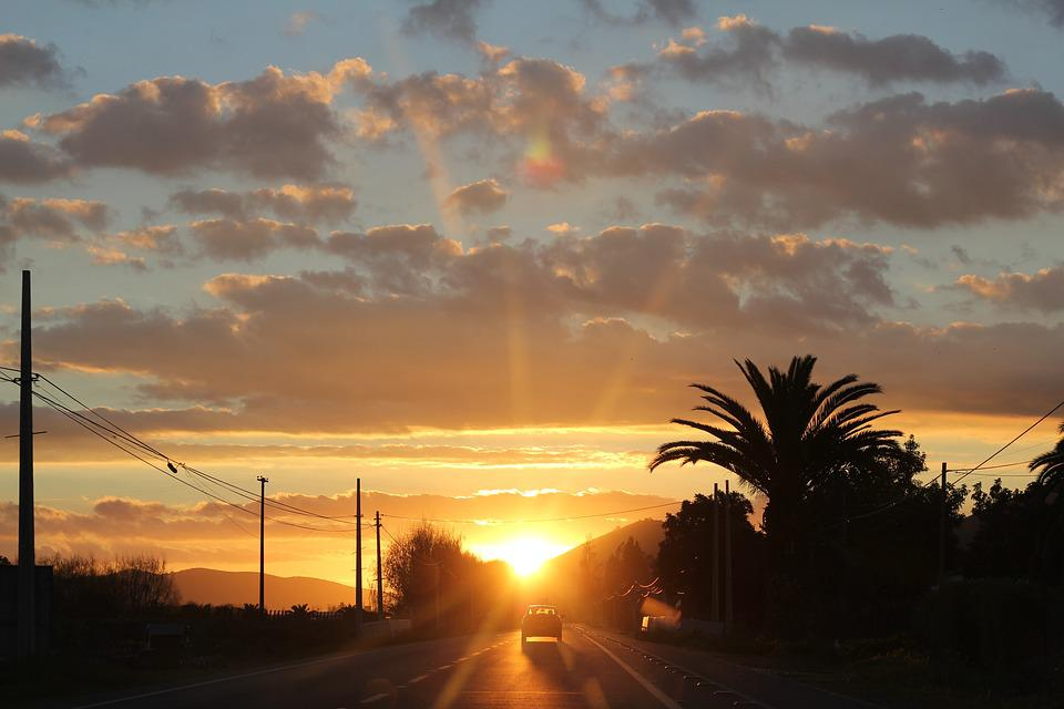 Sunset, Sun, Heat, Landscape, Sky, Field, Horizon