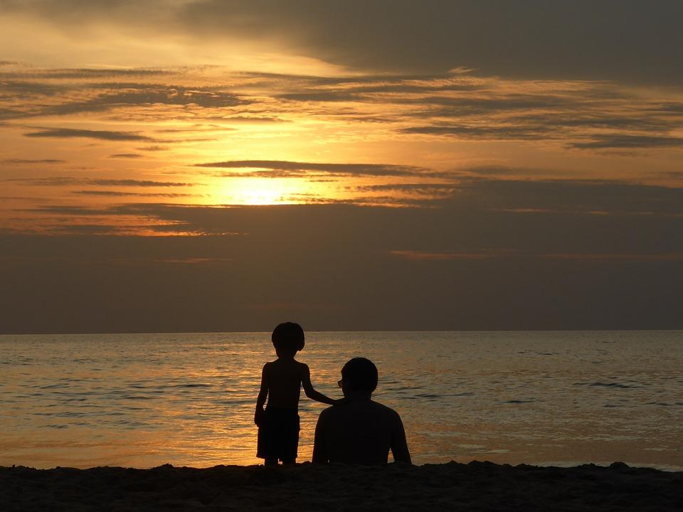 Sunset, Father, Son, Family, Beach, Sun, Summer, Kid