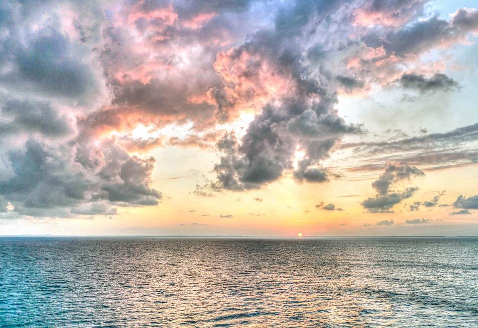 Sunset, Sea, Sky, Clouds, Ocean, Water, Sun, Nature