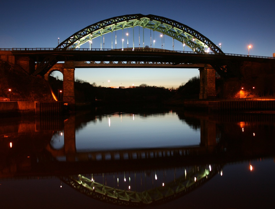 Wear, Bridge, Sunderland, Night, Scenic, Dusk, Sunset