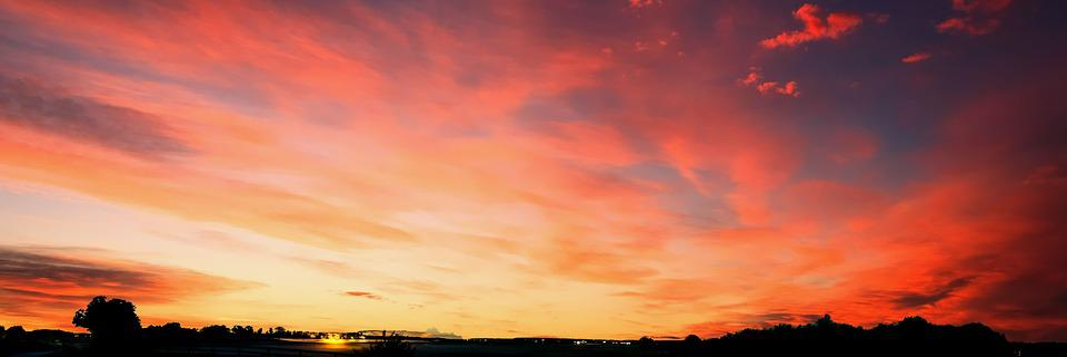 Sunset, Landscape, Nature, Sun, Sky, Sunlight, Outdoor
