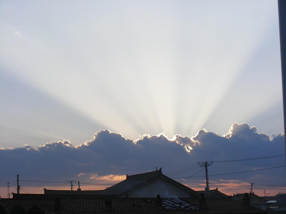 Sunset, Sun Beams, Beams, Cloud, Sky, Nature, Sunlight