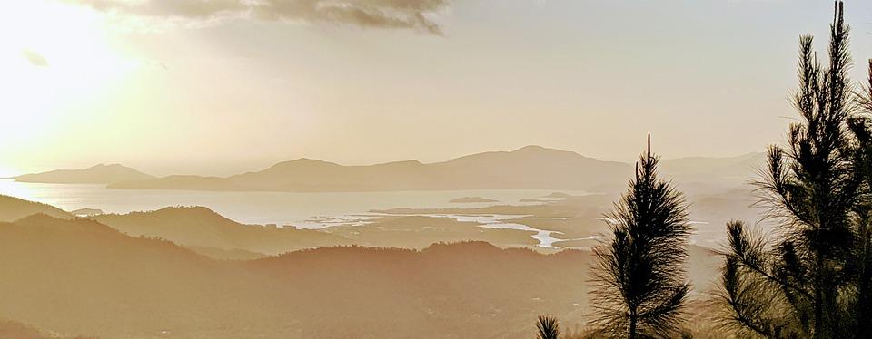 Sunset, Mountain, Horizon, Sunny