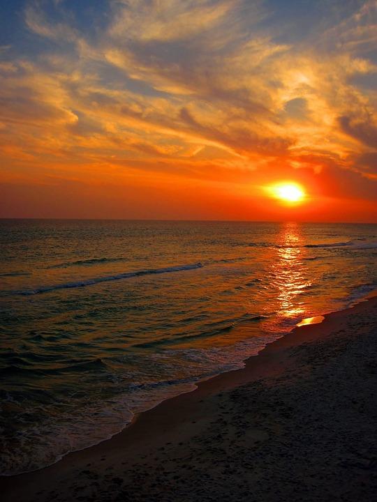 Beach Sunset Florida Ocean Sea Sky