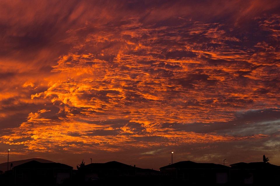 Sunset, Sunset Skies, Clouds, Skyline, Oranges, Purples