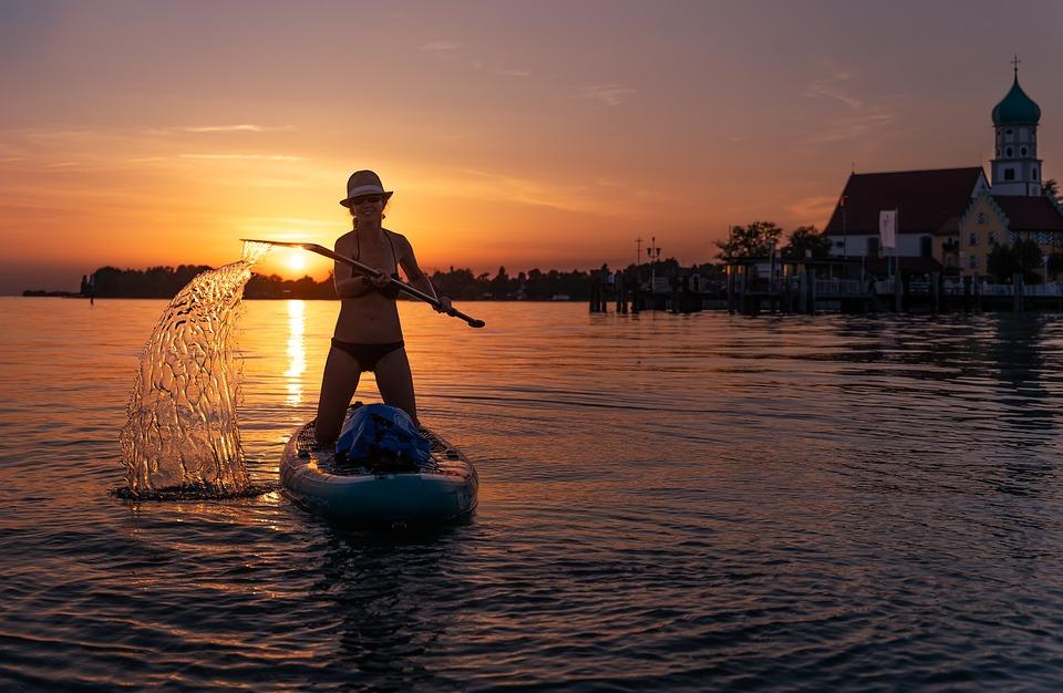 Sup, Standup Paddleboarding, Sunset, Water Sport