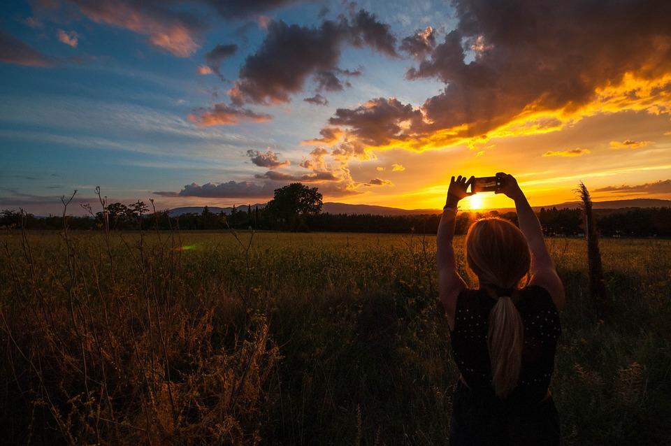 Sunset, Girl, Photo, Sky, Thought, Landscape