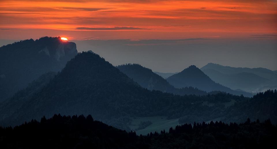 View, Landscape, Twilight, Sunset, Mountains