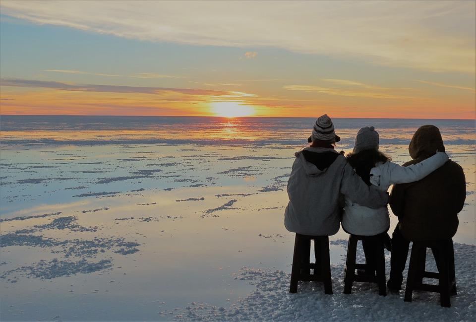 Sunset, Salar Uyuni, Family, Love, Stillness, Twilight