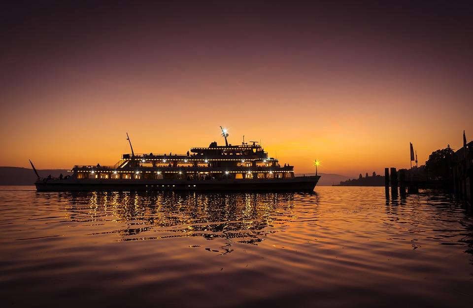 Lake Constance, Ship, Sunset, Violet, Light, Uberlingen