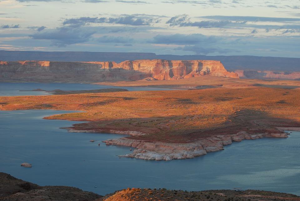 Usa, Lake, Powel, Colors, Orange, Sunset, Scenic, Water