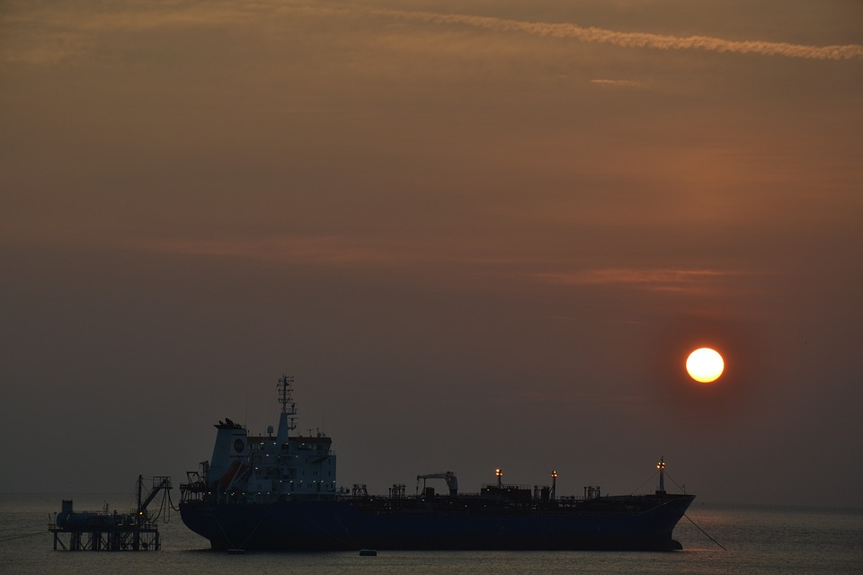 Sunset, Waters, Sea, Vessel