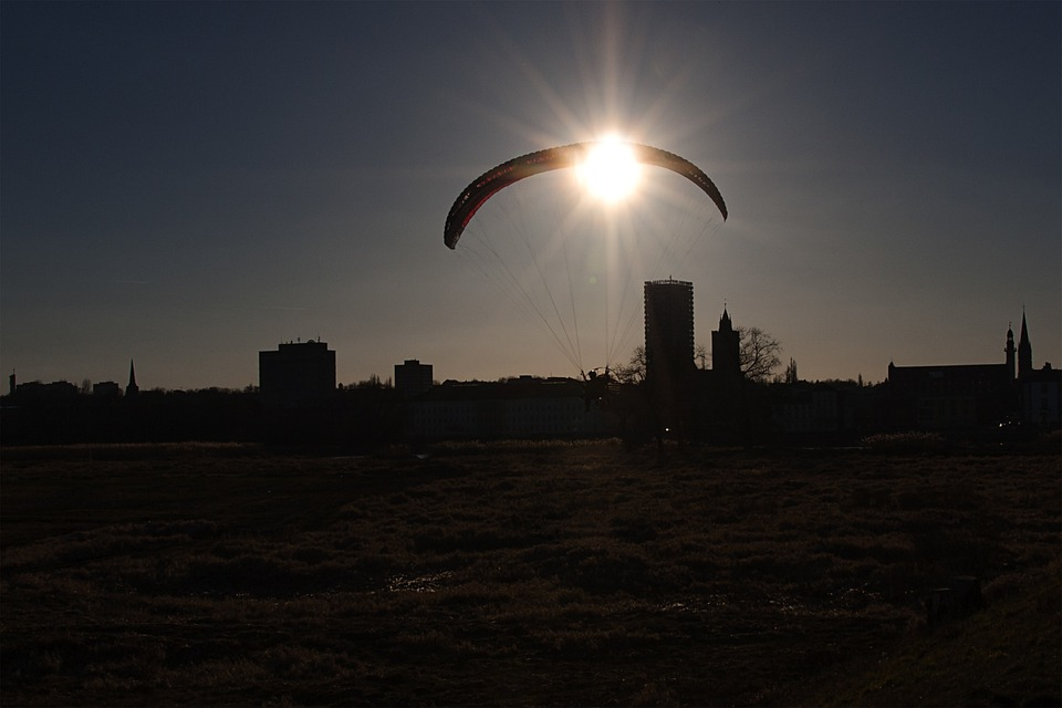 Słubice, Sunset, View, Hang Glider