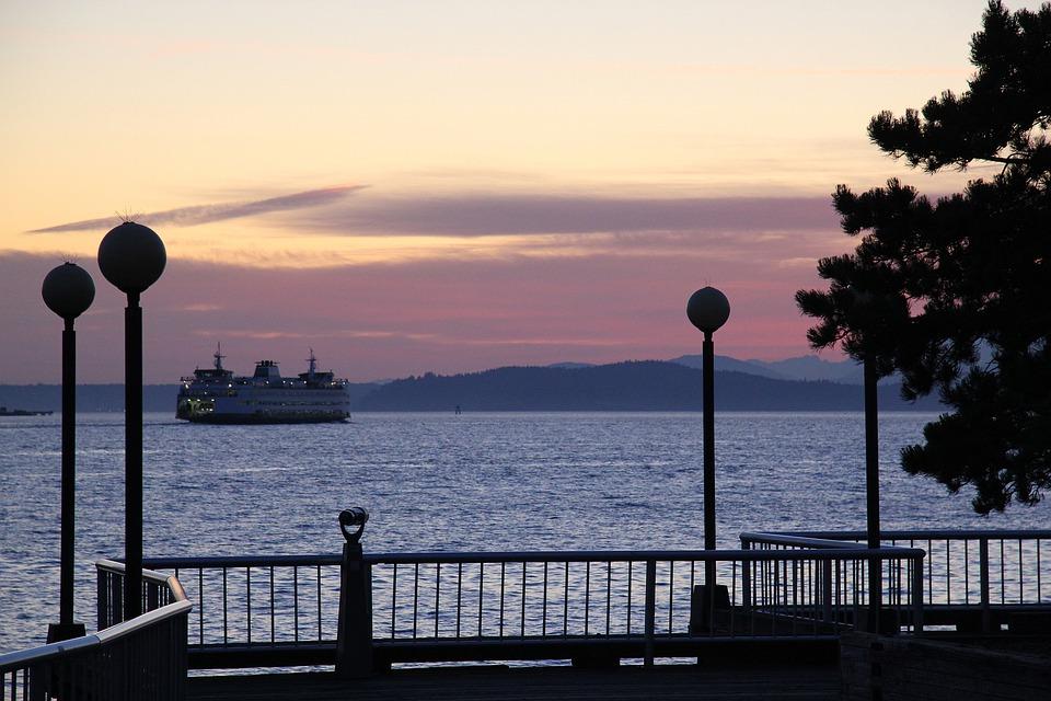 Seattle, Ferry, Ship, Sunset, Pier, Evening, View, Sea