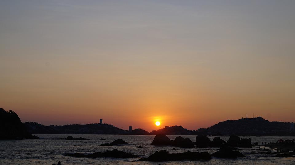 Sunset, Sea, Acapulco, Mexico, Sun, Ocean, Water, Rocks