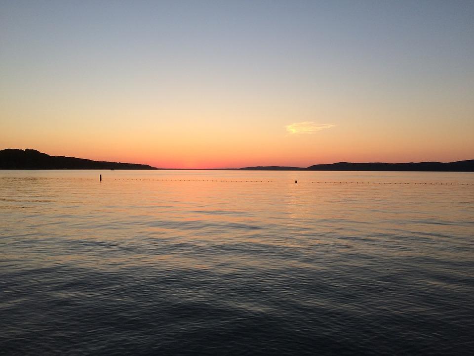 Michigan, Summer, Lake, Water, Sunset