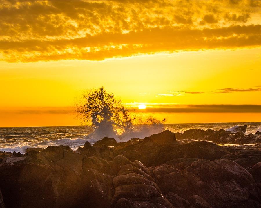 Sunset, Beach, Cambria, Coast, Orange, Sea, Wave