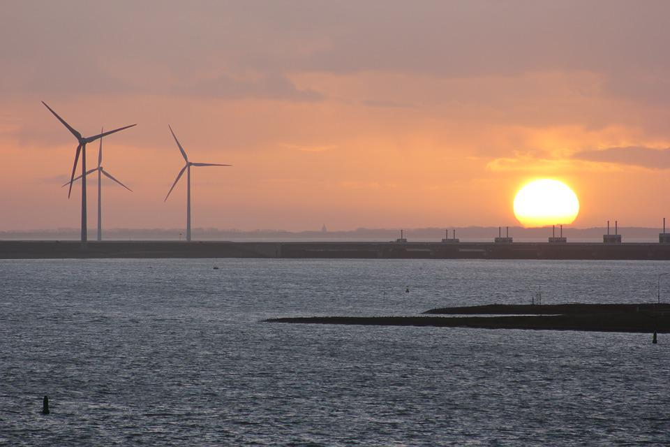 Sunset, Wind Mill, Water