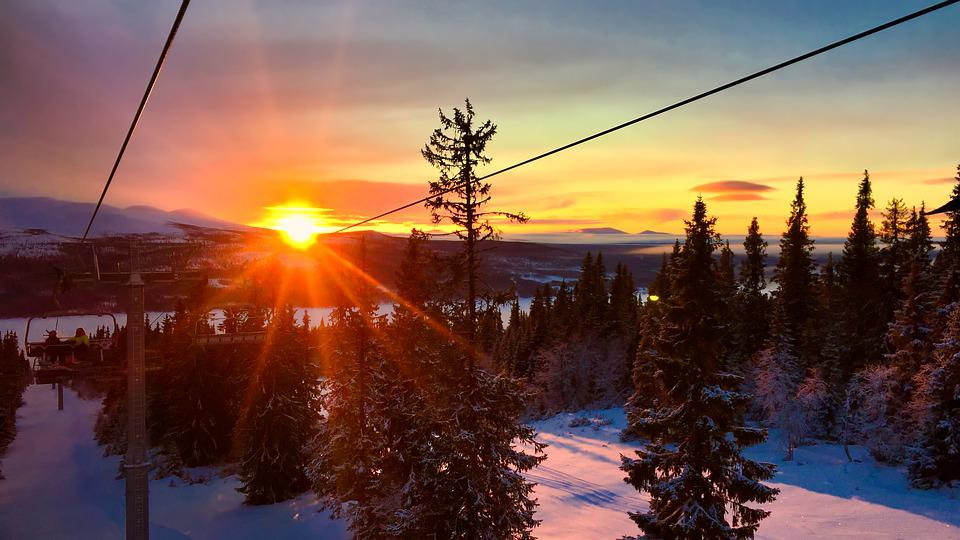 Christmas, Winter, Skiing, Ski Lift, Sunset, Sunrise