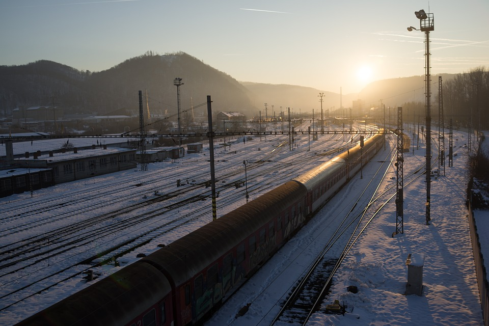 Railway, Sunset, Winter, In The Evening, Sadness