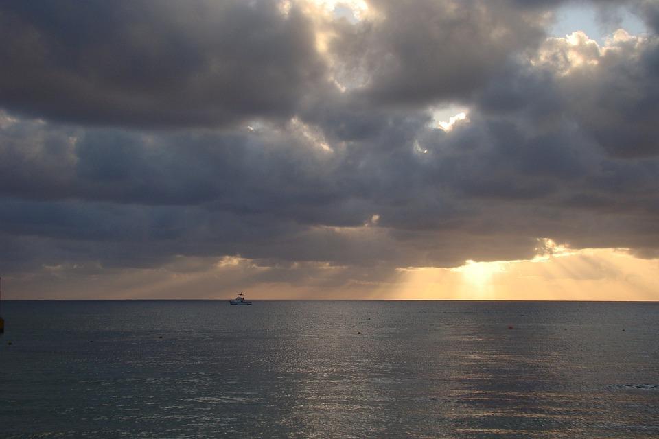 Sea, Cozumel, Clouds, Sunset, Yacht, Sky