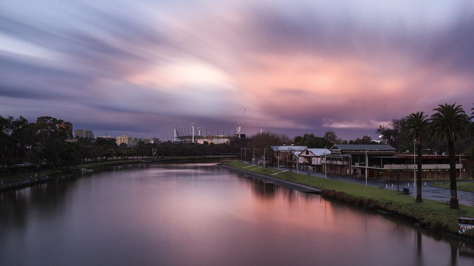 Sunset, Melbourne, Yarra, River, Australia, Victoria