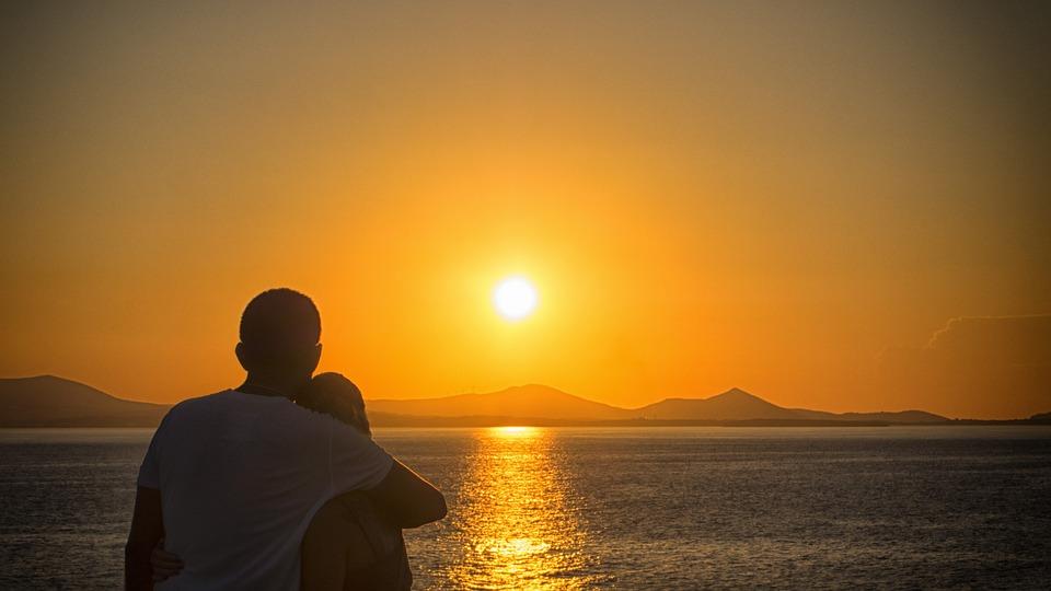 Romantic, Young Couple, Holiday, Sunset, Sunrise