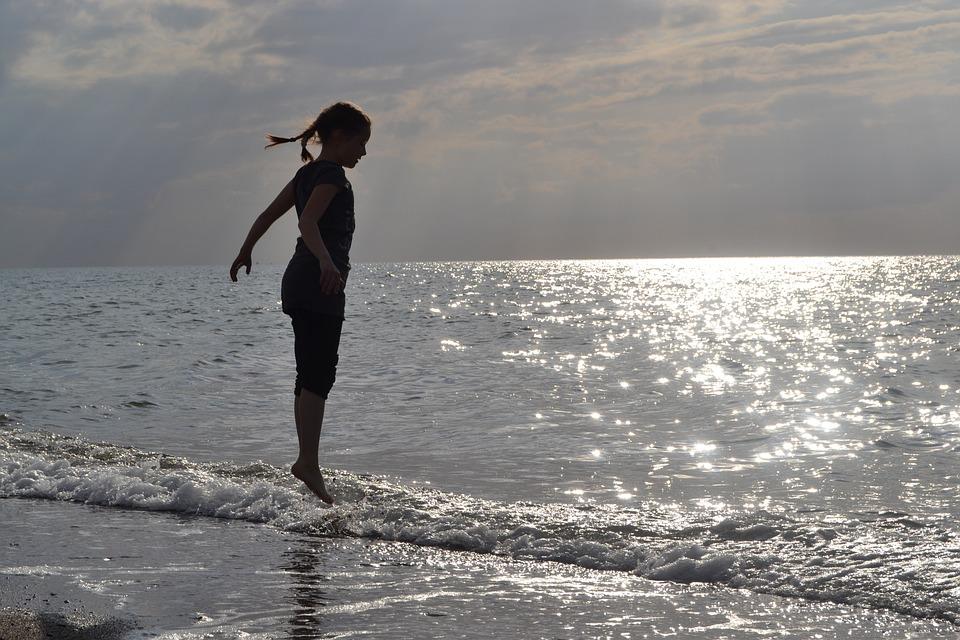 Child, Sea, Jump, Girl, Sunshine, Water