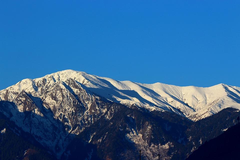 Snow, Mountain, Sunshine, India, Kullu, Nature