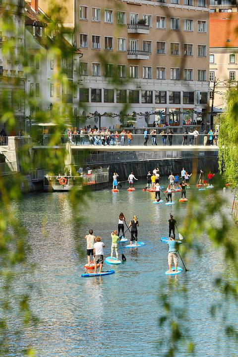 Ljubljana, River, Ljubljanica, Sup, Boat, Bridge