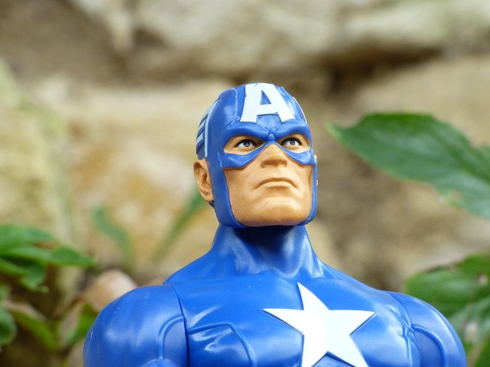 Captain America, Super Hero, Toy, Plastic, Miniature