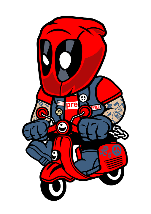 Deadpool, Scooter, Cartoon, Character, Superhero