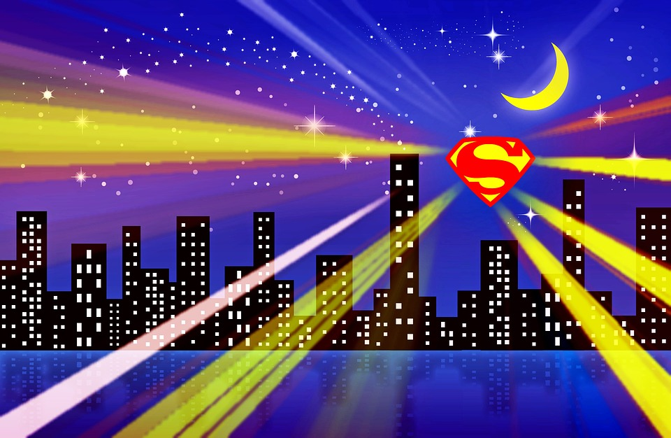 Superman, Superman City, Superhero, Sky, Silhouette