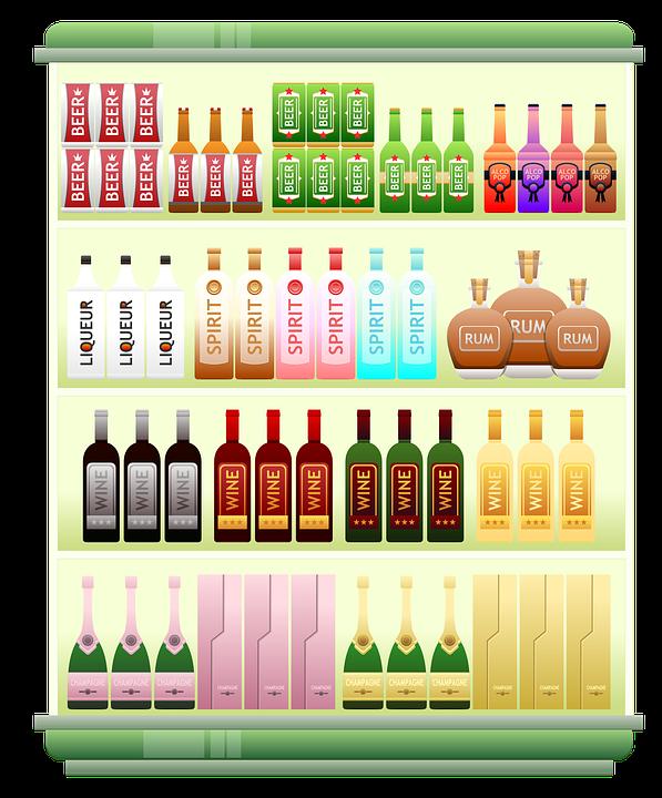 Supermarket Shelf, Liquor, Alcohol, Spirits, Beer, Rum